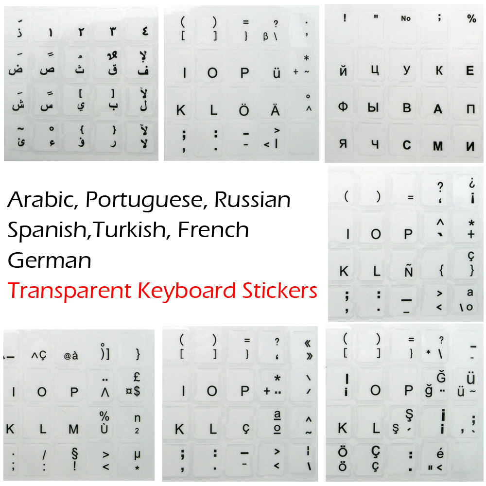 цена Russian Spanish Arabic French Portuguese German Turkish Black Character Transparent Keyboard Stickers for White Key