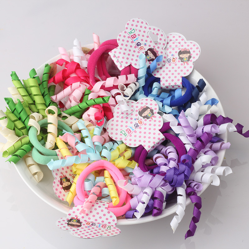 M MISM 2PCS Cute Lovely Colorful Curl Hair Elastic Bands Hair Accessories Ties Rubber Band Scrunchy for Children Kids baby 12pc set elastic hair rubber band children hair unicorn headband kids hair accessories gril hair band set cute unicorn cartoon