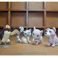 4 pçs/sets animais PVC Action Figure Collectible miniatura figurinhas cães gatos coruja dos desenhos animados modelo figuras Brinquedos kawaii Decorações
