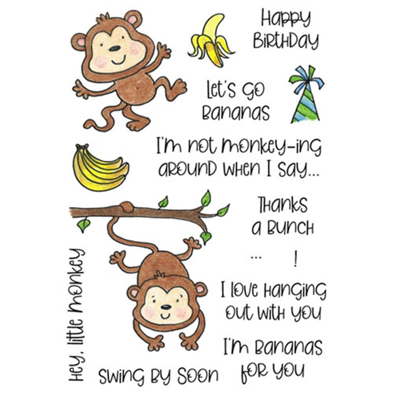 Naifumodo Merry Monkeys Metal Cutting Dies Happy Birthday Clear Stamps for Craft Scrapbooking Album Embossing New