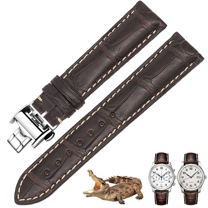 Shi Shi watch strap is suitable for Longines strap genuine leather male famous craftsman, Jia Lan L4L2, the crocodile skin. lacywear brm 58 shi