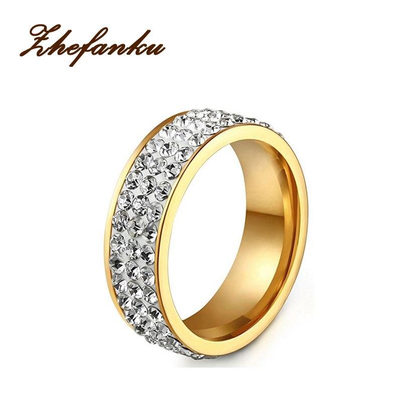 2017 Лидер продаж Мода из нержавеющей Обручальные кольца обещание Кольца для пары три ряда Rhineston anillos 1 шт.