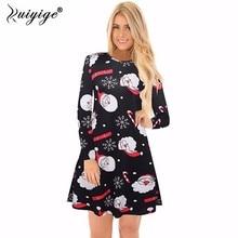 Ruiyige 2018 spring Fashion Women Christmas Clothing Elegant Long Sleeve O-Neck Tunic Stretch Mini Dress Santa Festival Vestidos