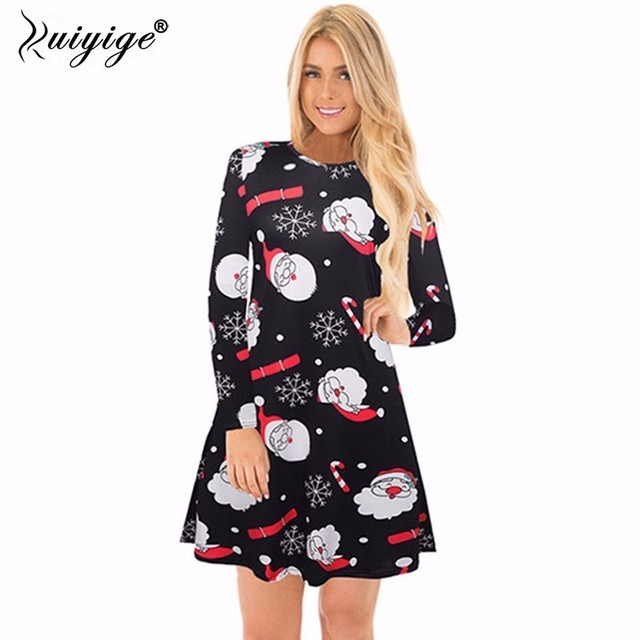 49351ba505995 Ruiyige 2018 spring Fashion Women Christmas Clothing Elegant Long Sleeve  O-Neck Tunic Stretch Mini