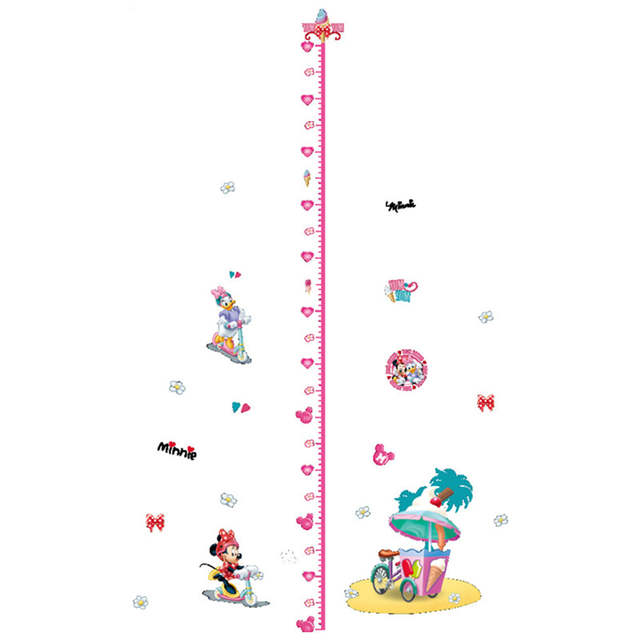 US $2 99 32% OFF|180cm children growth chart height stickers Mickey Minnie  Mouse 3d vinyl wall decals kids room decoration cartoon poster 30*60cm-in