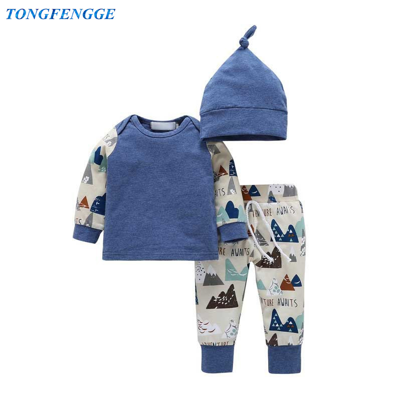 3PCS Toddler Baby boys clothes set Autumn Newborn baby girl clothes long sleeve t-shirt + pants +hat outfits bebes jogging suits