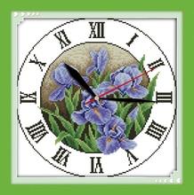 Joy sunday Iris clock face handmade crafts wall clocks cross stitch artificial flowers for decoration