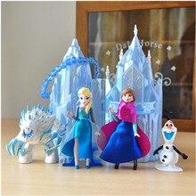 Disney Frozen Nieuwe Speelgoed 6 Stks/partij 6 16Cm Pvc Anna Elsa Prinses Olaf Sven Kristoff En Kasteel Ijs paleis Troon Action Figure Pop