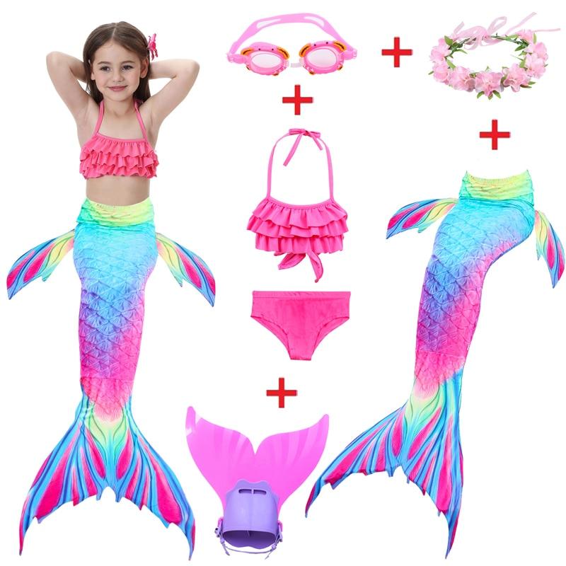 Girls Mermaid Tail With Finned Swimwear Kids Mermaid Swimsuit Child Wear Split Swimsuit Mermaid Tail Bikini Children Swimwear
