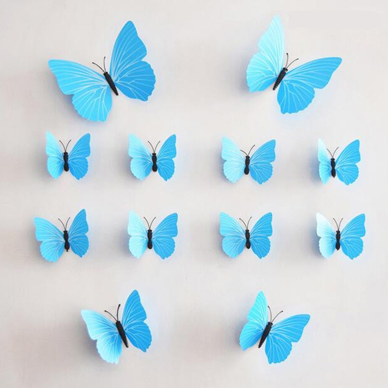 Keythemelife Butterfly Wall Stickers 3D Butterflies Colorful Polka Dot Bedroom Living Room Home Fridage Decor 12pcs/lot D2