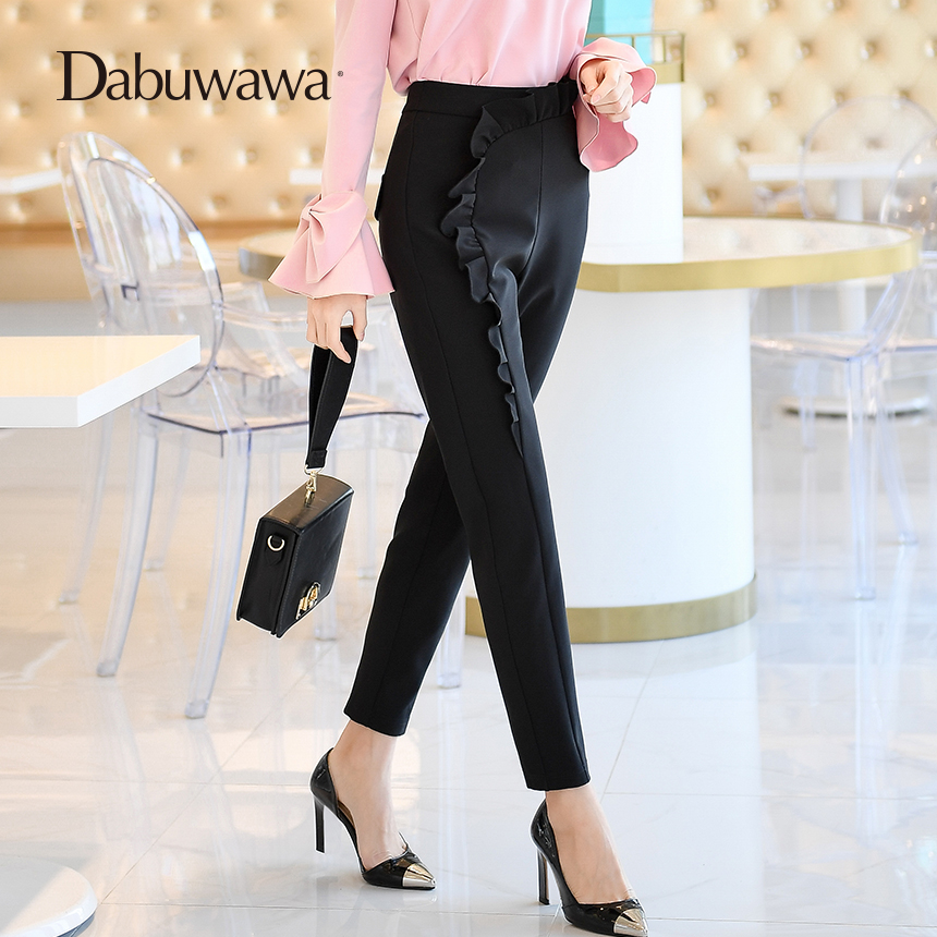 Dabuwawa Spring New Black Trousers Women Elegant Office Ladies Pencil Pants High Waist Full Length Harem Pants hee grand women s candy pants 2017 pencil jeans ladies trousers mid waist full length zipper stretch skinny women pant wkp004