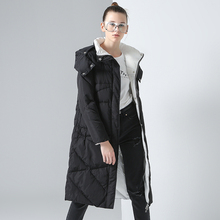 Toyouth Women Coat Winter Medium-Long Hoody Single-breasted Snap Button Thickening Long Jacket Coat