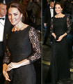 Kate Inspired 2017 Celebrity Dresses Long Black Lace Runway Evening Gown with a Delicate Scalloped Neckline CE155