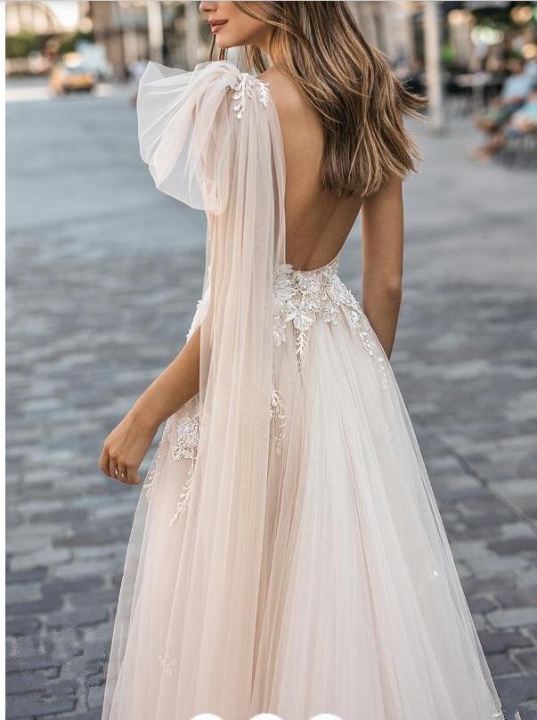 Linie Eine Sexy Ärmellose Kleid De 2019 Hochzeit Tüll Novia Kleider Strand Lorie Brautkleider Grils Vestidos w0nH1IqXx