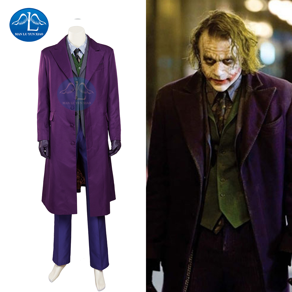 MANLUYUNXIAO Batman The Dark Knight Joker Costume Batman Joker Suit Outfit Classic Halloween Cosplay Movie Hero Costume Full Set