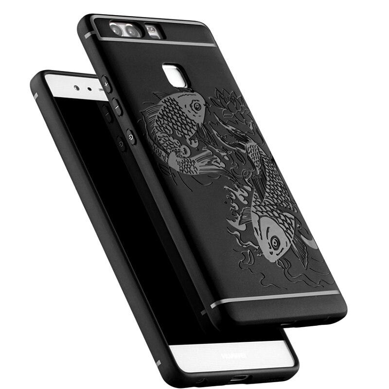 Para Huawei P9 contraportada Luck Fish Relief anti-knock Armaduras silicio  Carcasas para Huawei P9 5.2 teléfono capa protectora fundas coque cea17bae65b9a