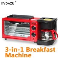 Multi functional 3 in1 Breakfast Machine coffee tea pot Teppanyaki oven Bread Toaster Baking Maker Frying pan pizza Cooker