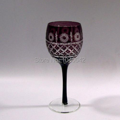 b9a3e6b3d90 Bohemian Cut to Clear Crystal Glass 2 purple Wine Glasses. Stems Goblets  Wine Glasses Stemware