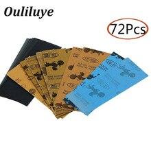 72PCS Waterproof Wet/Dry Sandpaper Grit 400 to 3000 Wood Emery Abrasive Paper Sheets Polishing Metal Tool