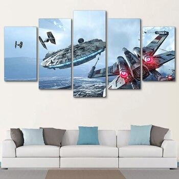 Decoração Arte Da Parede Pintura Fotos Impressas Modular 5 Painel Filme Star Wars Moderna Da Lona Sala de estar Quadro HD Cartaz Casa