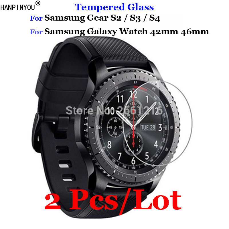 2Pcs For Samsung Gear S3 S4 S2 Classic Tempered Glass 9H 2.5D Premium Screen Protector Film For Samsung Galaxy Watch 42mm 46mm