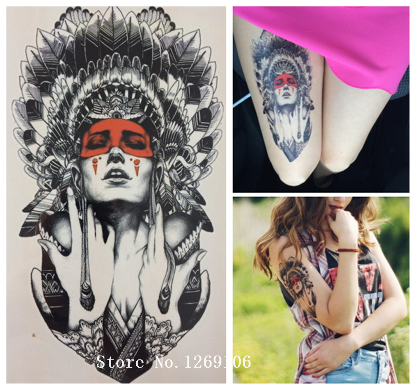 2016  Fashion 21 X 15 CM Ancient women Sexy Cool Beauty Tattoo Waterproof Hot Temporary Tattoo Stickers