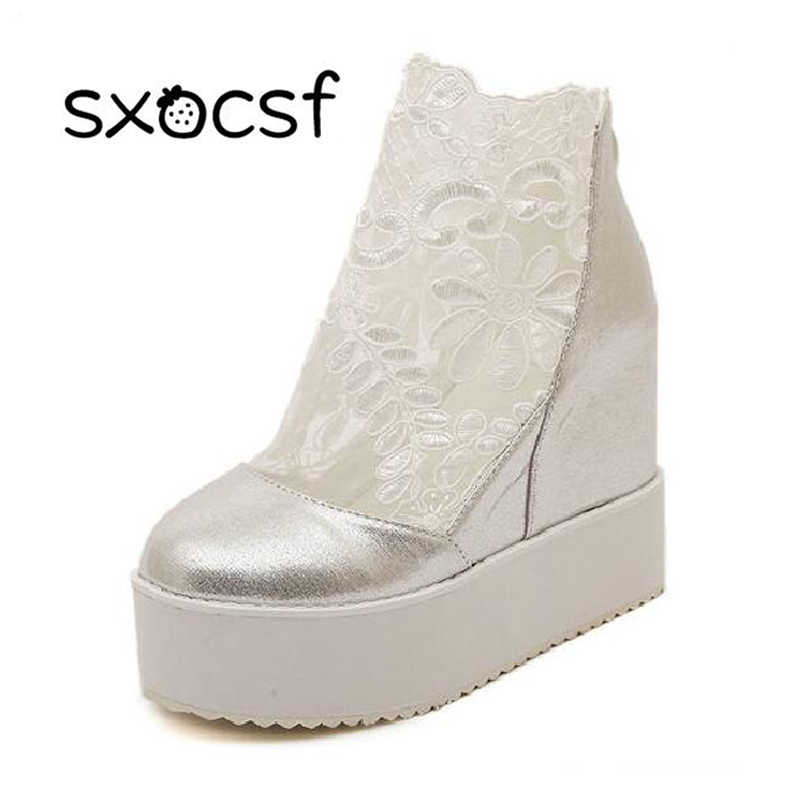 Modne rimske čevlje iz modnih čipk Ženske klinaste pete Bele platforme črpalke visoke sandale Zapatos Plataforma Mujer Encaje 34-39