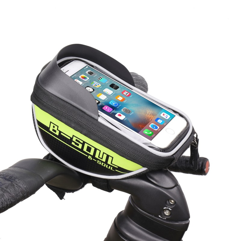 цена на B-SOUL Outdoor Cycling Bicycle MTB Road Bike Front Bag Phone Holder Frame Tube Stent Accessories Riding Phone Device