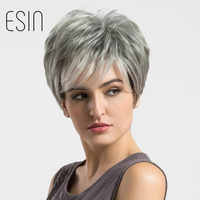 Esin Synthetic Fluffy Multi Layered Hair Short Straight Silver Grey Wigs Mixed 70% Human Hair With Bangs For Women Free Shipping