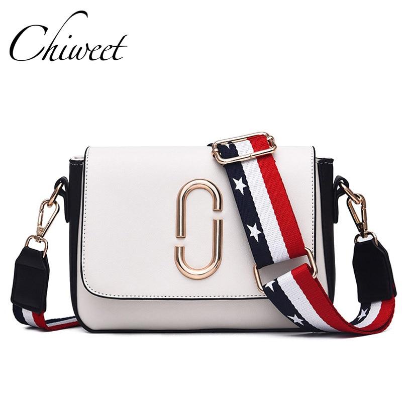 Luxury Handbag Wide Shoulder Strap Bags Designer Panelled Small Women  Messenger Bag Famous Brand Metal Letter 677fb11148
