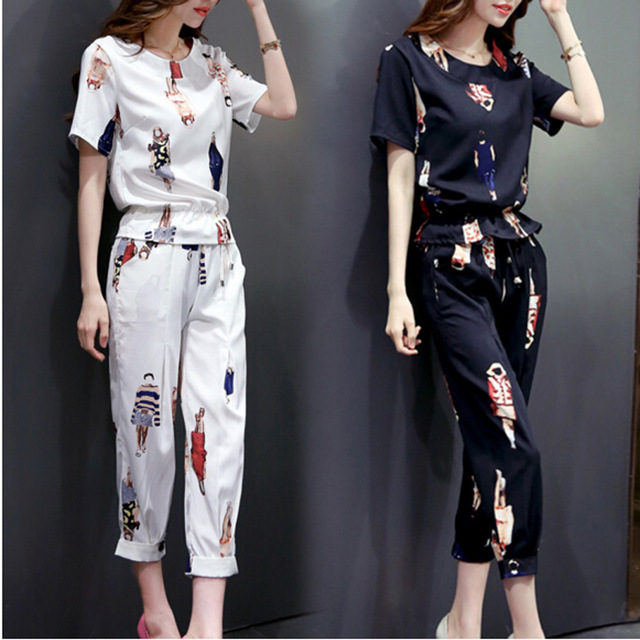 summer style  new women flower printed short sleeve T-shirt+shorts leisure women clothes set Korean female suit