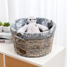 Kitty litter straw basket storage of toy cat house with cotton lining county side table snack book cloth corn husk boxes