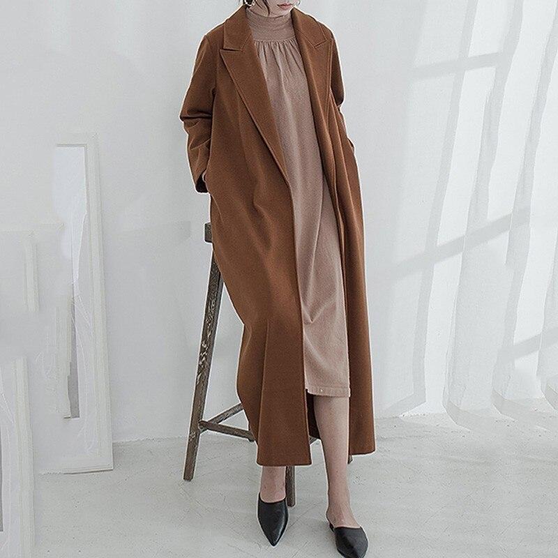 Mode Vintage caramel Hiver Color Collar Pleine 2018 Turn Color Manteau Femmes down Ob559 Long Manches De Apricot Marée Automne Sitich Lâche Nouvelle Ouvert ewq qwxBTnFIB