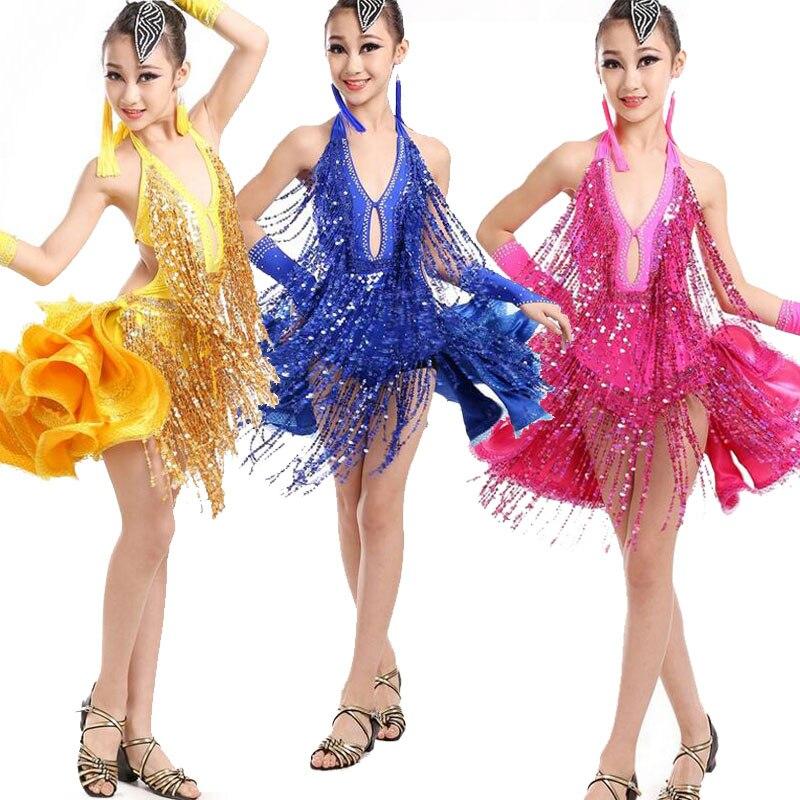 Couleurs filles glands latins robe de danse pailletée enfants spectacle de Performance salle de bal Salsa patinage Dancewear Costumes Outfis