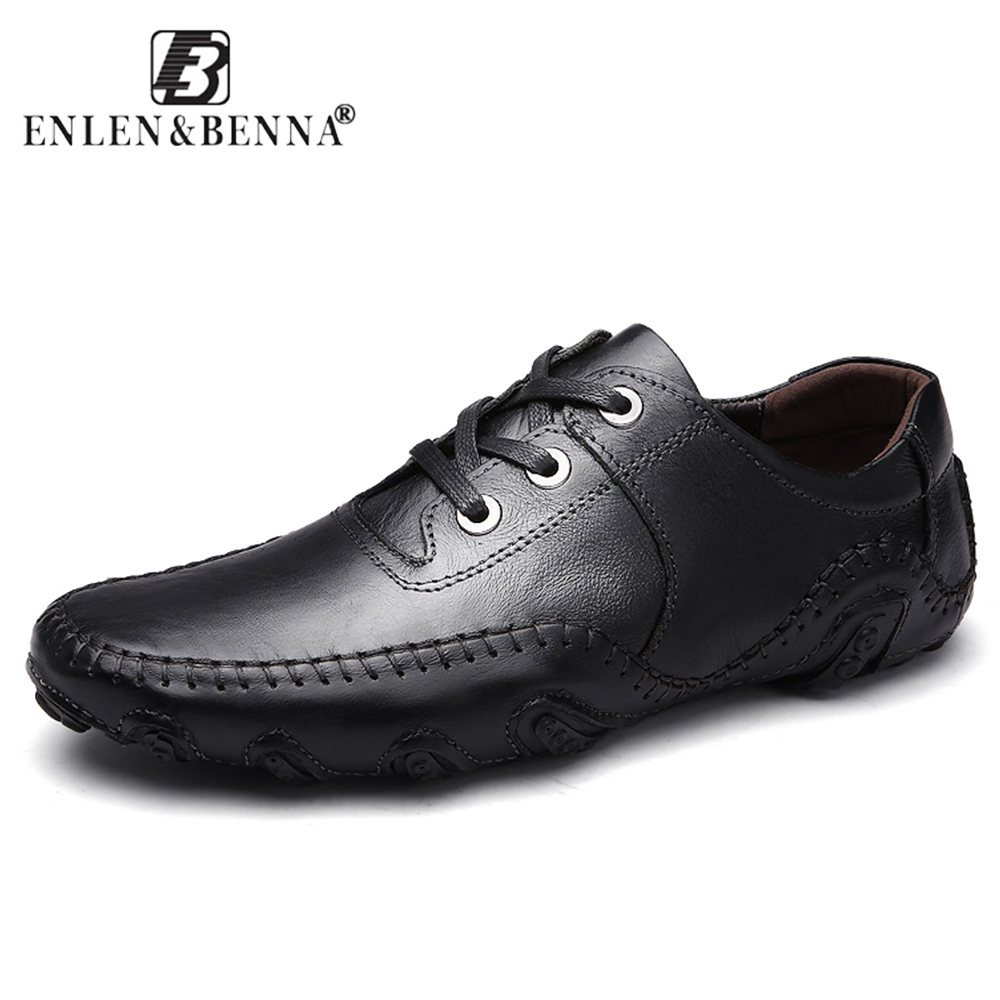 Men's Casual Shoes Hot Sale Lace-Up Male Adult Genuine Leather Autumn Winter Walking Driver Quality Footwear Zapatos Sapato 8890