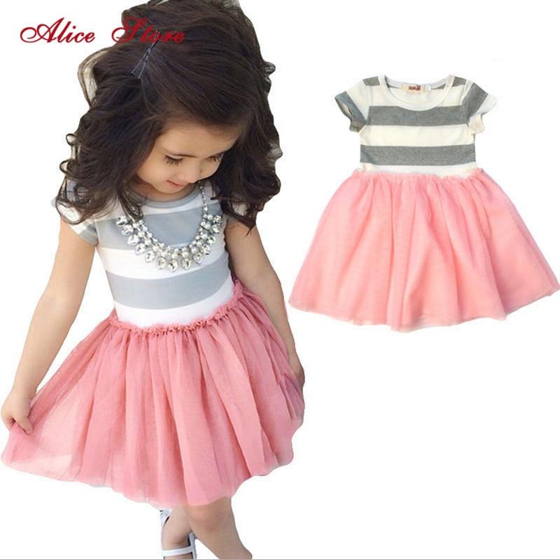 2018 new children clothing Toddler Girls Short Sleeve Tops Mini Dress Striped Princess Pleated Dress 1