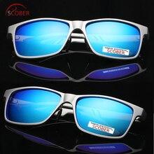 = Scober Carbon Fiber Al-mg Square Polarized Sunglasses Colorful Mirror Lens Tac