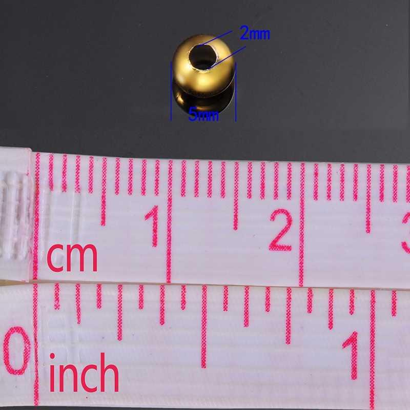 FUNIQUE Branelli Di Fascino di Modo 30PCs Perle In Acciaio Inox Liscio Branelli Del Distanziatore Per Artigianato FAI DA TE e la Produzione e la Collana