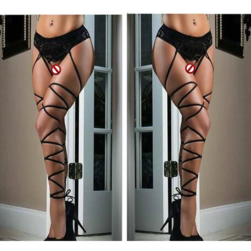 Plus Size Women Lace Open Crotch Sexy Stockings Long Bandage Straps Thigh High Stockings Clubwear Sexy Lingerie Black Red Set
