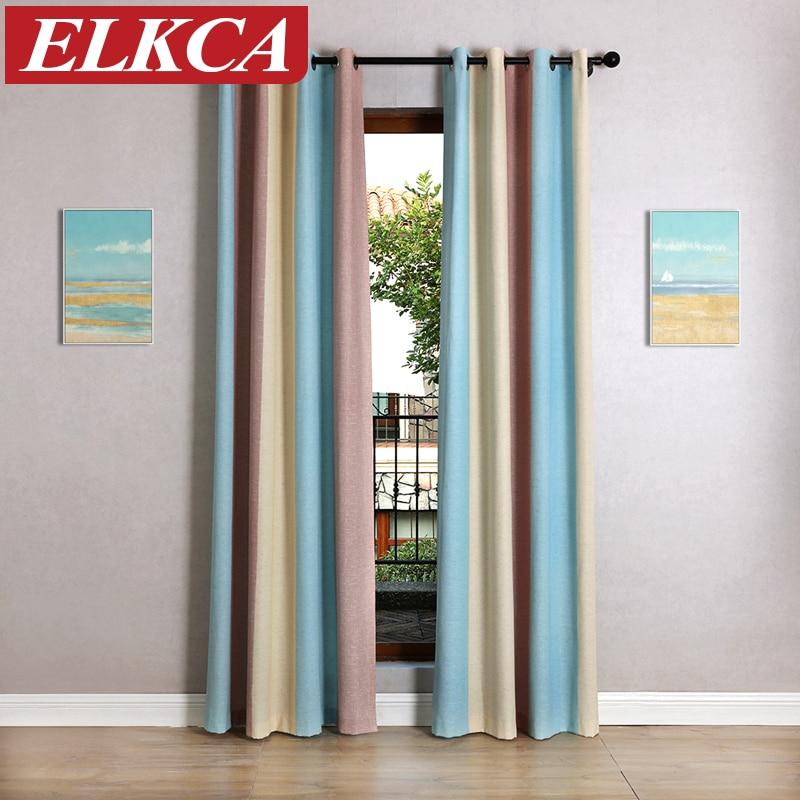 caliente la venta de tres colores a rayas impreso cortinas de la ventana para el dormitorio cortinas para nios modernos cortina