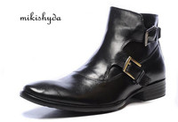 MIKISHYDA New 2017 Belt Buckle Black Brown Winter Mens Leather Boots Genuine Leather Casual Shoes Shoes