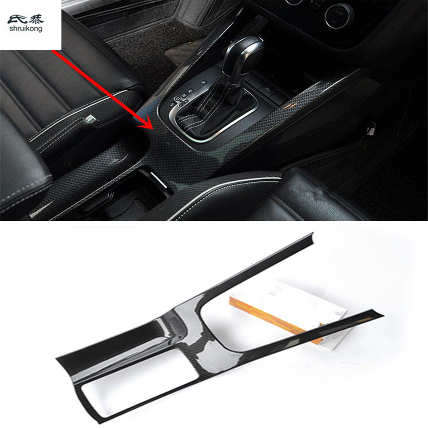 1pc Car stickers carbon fiber ABS material gear panel and Drinking glass decoration cover for 2009