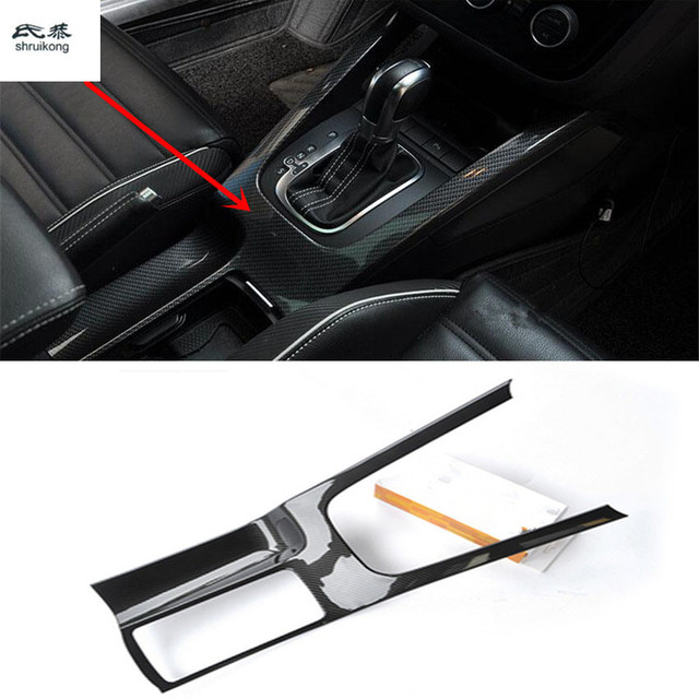 1pc carbon fiber grain ABS material gear panel and Drinking glass decoration cover for 2009 2017 Volkswagen VW Scirocco 137 138