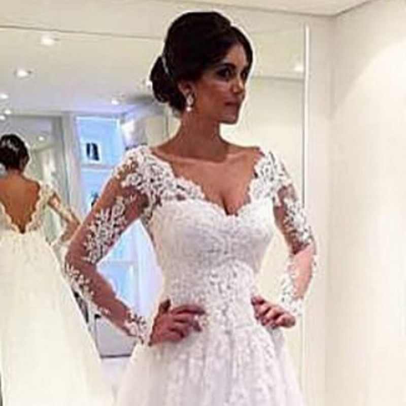 Wedding dresses for mature brides with long sleeves
