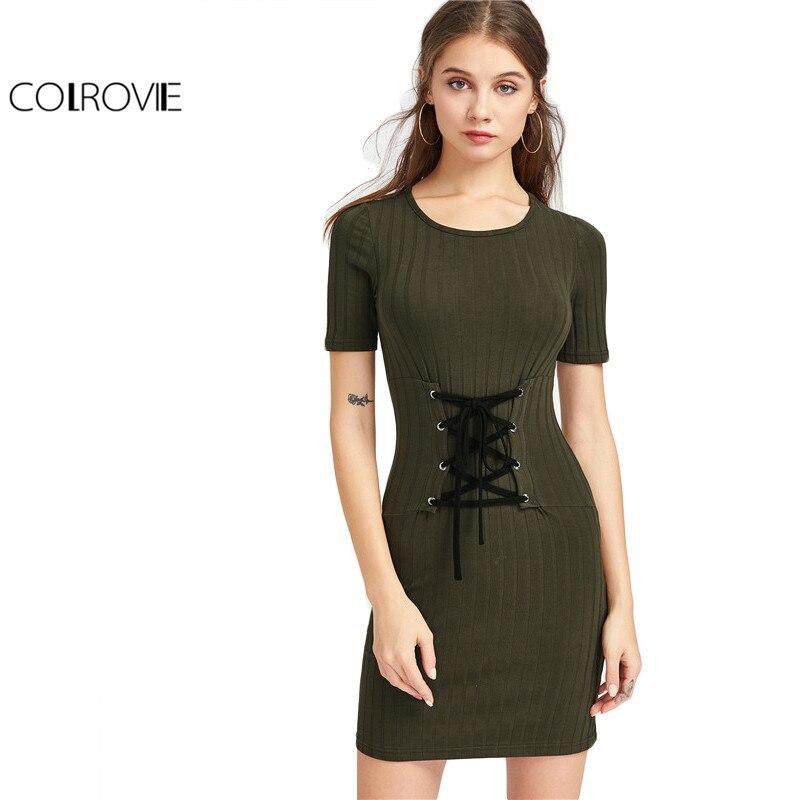 Colrovie ajustado cinturón de punto acanalado lace up corset dress verde del ejé