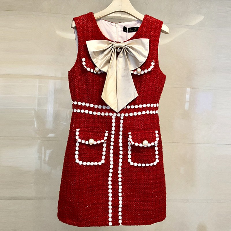 2018 Runway Designer High Quality Autumn Winter women Vest Dress Tweed Patchwork sleeveless Casual Pearl Dresses Vestidos robe