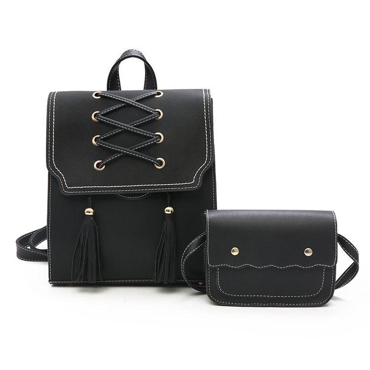 2 PCS/SET Women Backpack PU Leather Backpack Women School Bags For Teenagers Girls Femal Backpack