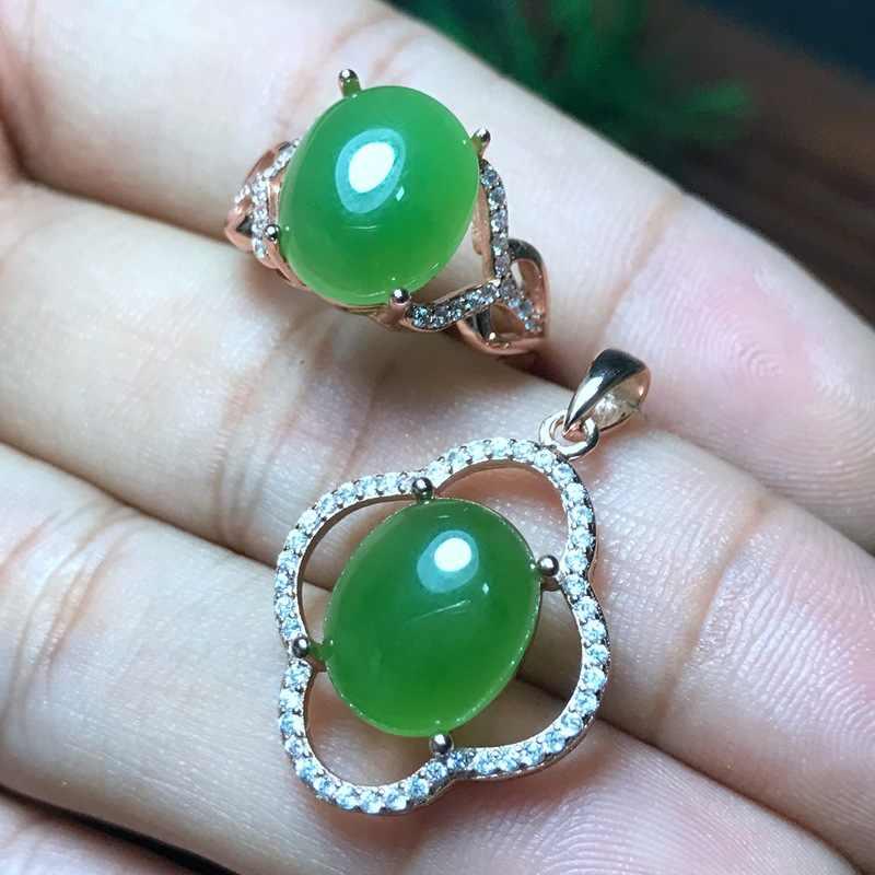 MeiBaPJ Clássico Natural Nephrite Jade Pedra Preciosa Conjunto de Jóias 925 Sterling Silver 2 Siut Pedra Verde Jóias Finas para Mulheres