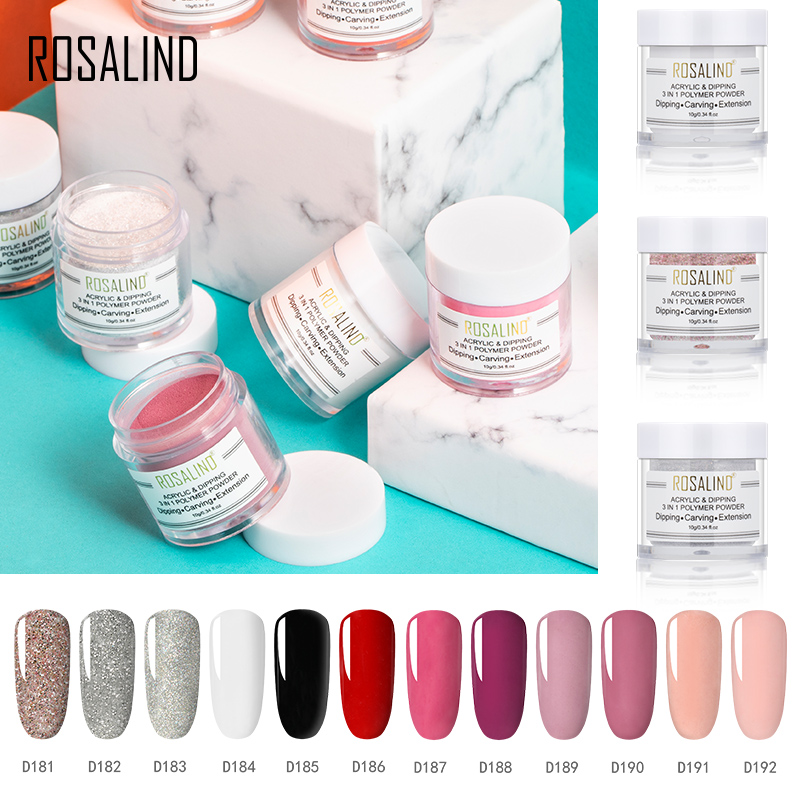 ROSALIND 3 In 1 Powder Crystal Acrylic Powder Nail Extension Builder Dipping Powder Nail Art Carving Decoration For Manicure image