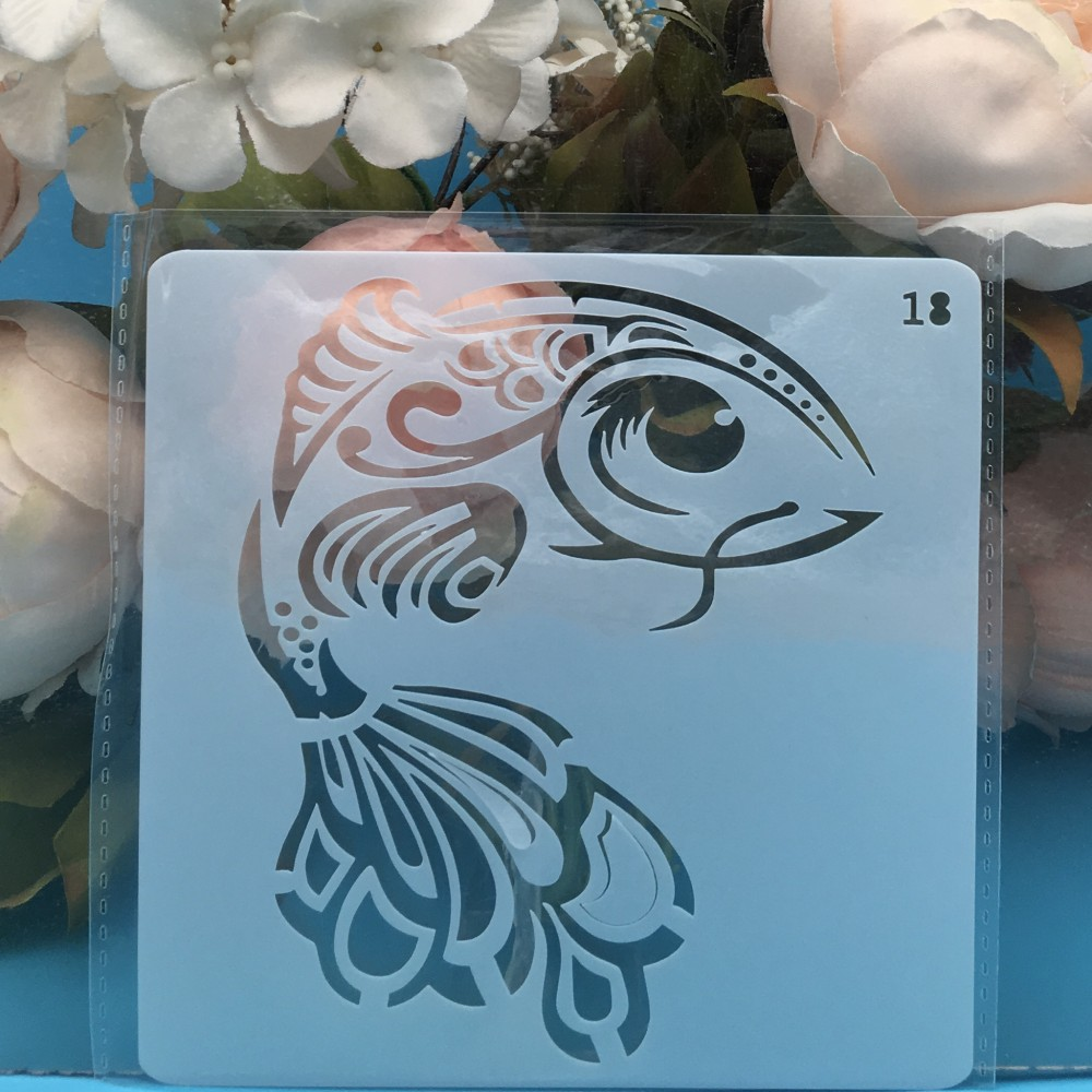 13cm Carp Fish DIY Layering Stencils Wall Painting Scrapbook Coloring Embossing Album Decorative Card Template